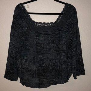 NWT dark blue and black 3/4 sleeve blousesemisheer